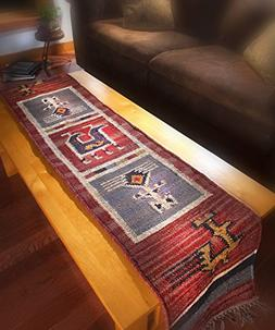 "Tribal 13x72"" Flat Weave Table Runner Wool / Jute"