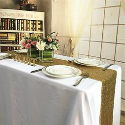 TRLYC 12 by 60-Inch Gold Wedding Sequin Table Runners for Ba