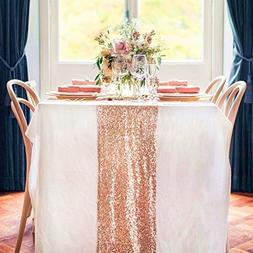 12 by 108-Inch Wedding Royal Sequin Table Runner, Rose Gold