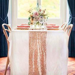 TRLYC 12 x 120 Inch Sparkly Rose Gold Sequin Table Runner,Se