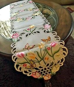 "Tulip & Butterfly Table Runner Dresser Scarf 69""x 13"" Embroi"