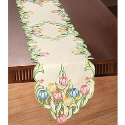 Collections Etc Multicolor Tulips Table Linens, Runner