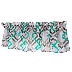 Turquoise Curtain Valance for Windows - Crabtree Collection