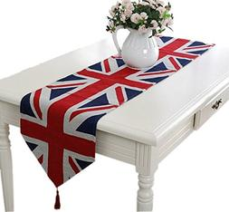 Yoovi the Union Jack Retro Jacquard Table Runner Patriotic R