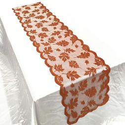 US Lace Maple Leaves Table Runner Fall Thanksgiving Harvest