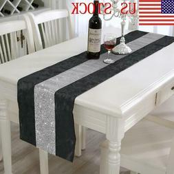 US Multi-Color Modern Diamante Table Runner Table Cover for