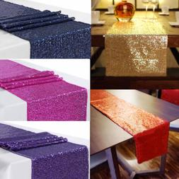 US Sequin Satin Table Runner 30x300cm Glitter Wedding Party