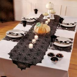USA Halloween Black Spider Web Table Runner Tablecloth Party