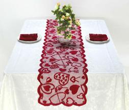 """Valentines Day Table Runner RED 13"""" x 72"""" Red Lace Table Lin"""