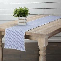 vhc farmhouse table runner cotton blue rectangle