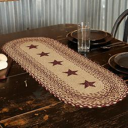 VHC Primitive Table Runner Burgundy Red Tan Textured Jute St