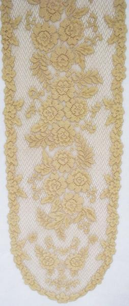 Victorian Rose Table Runner Antique Color 13x54 Lace Runner