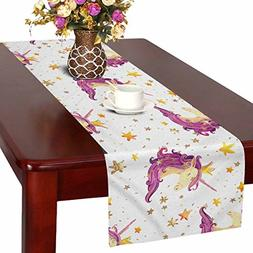 InterestPrint Watercolor Star Table Runner Home Decor 16 X 7