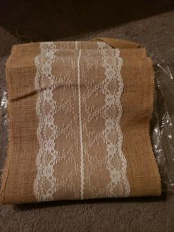 Wedding Burlap White Lace Table Runner Floral Hessian Party