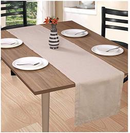 Wedding Table Runner 108 inch Cotton Flax Fabric with Hemsti