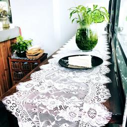 Wedding White Lace Table Runner  Tablecloth Cover Chair Sash