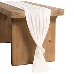 Ling's moment 27 x 120 inches White Chiffon Table Runner/Ove