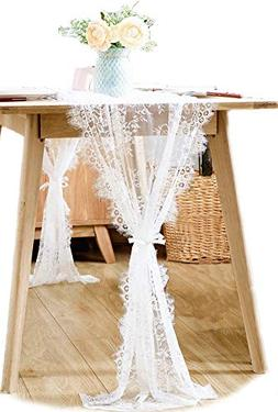 BOXAN 30x120 Inch White Classy Lace Table Runner/Overlay wit