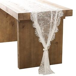 ling's moment 32x120 Inches White Lace Table Runner/Overlay,