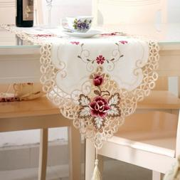 White Embroidered Lace Dining Table Runner Wedding Party Hom