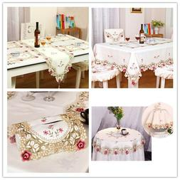 White Embroidered Lace Table Runner Doilies Table Cover Mats