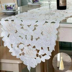 White Embroidery Lace Floral Table Runner Wedding Party Home