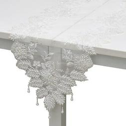 White Full Lace & Embroidered 100% Polyester Table Runner wi