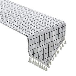 Uphome White Gingham Table Runner, Plaid Pattern with Boho F
