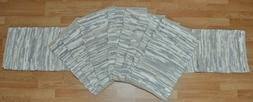 """72"""" White & Grey Leather Table Runner & 8 Placemat Set"""