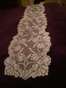 White lace Dutch Garden design Table Runner 36 x 14