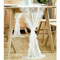 White Lace Floral Table Runner Boho Wedding Tablecloth Banqu