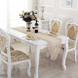QXFSMILE White Lace Table Runner Embroidered Farbic Floral T
