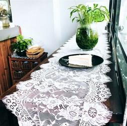 White Lace Table Runner Floral Table Cloth Rustic Boho Weddi
