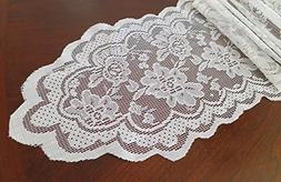 Goldstream Point White 108 Inch x 9 Inch Lace Table Runner N