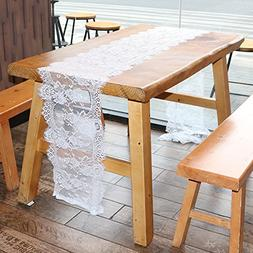 OurWarm 14 x 118 Inch Vintage Lace Table Runner for Rustic W