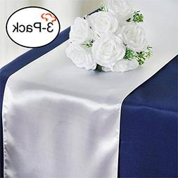 Tiger Chef 3-Pack White 12 x 108 inches Long Satin Table Run