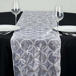 BalsaCircle 14 x 108-Inch White Organza Table Top Runner wit
