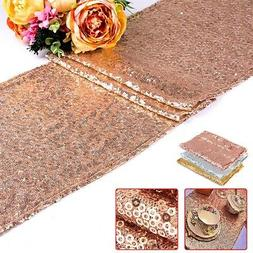 Rose Gold Sequin Table Runner Tablecloth Xmas Party Wedding