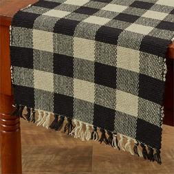 WICKLOW BLACK TABLE RUNNER 13X54 RIBBED YARN COTTON CHECK SI