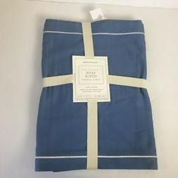 Wiliams Sonoma Table Runner Satin Stitch Blue 16x90 Cotton N