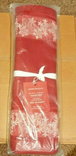 Williams Sonoma Snowfall Jacquard Table Runner Red 16 x 108