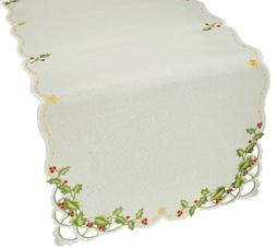 Xia Home Fashions Winter Berry Christmas Table Runner, 16 by