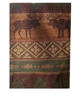 Winter Lodge Table Runner with Moose and Leaves 16 x 54 inch