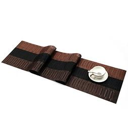 SHACOS Woven Vinyl Table Runner Easy to Clean Woven Vinyl Ta