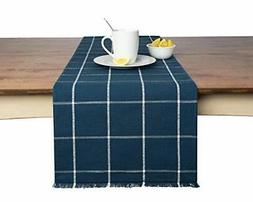 Sticky Toffee Yarn Dyed Farmhouse Plaid Table Runner 14 in x