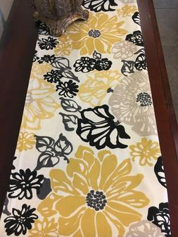 Yellow, black, gray, ivory Table Runner. Floral on ivory bac