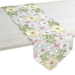 """Current Spring Floral Polyester Table Runner - 13"""" x 69"""" tab"""
