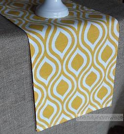 Yellow Table Runner Modern Geometric Dining Kitchen Home Dec