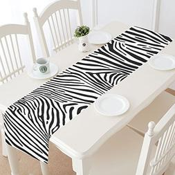 InterestPrint Zebra Stripes Table Runner Home Decor 14 X 72